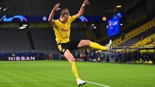 Haaland trascina il Dortmund, stop Dinamo Kiev, colpo Psg con Kean