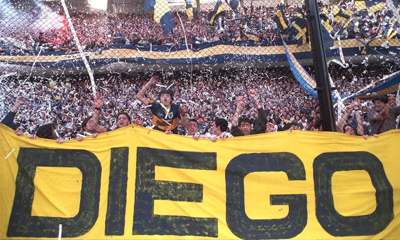 La curva del Boca ai tempi di Maradona.
