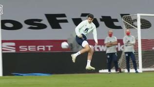 Morata, show in allenamento: tripletta e gol di tacco