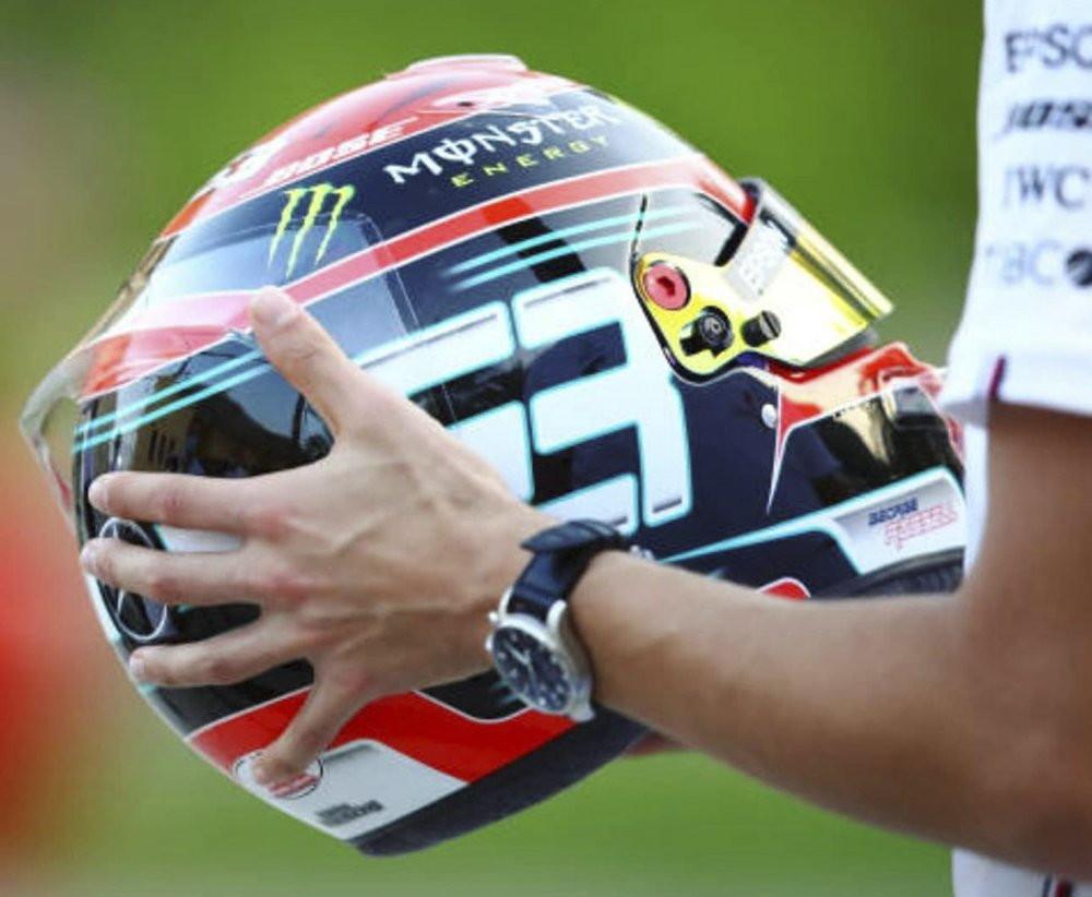 Per Russell un casco dalla livrea speciale per festeggiare la &quot;promozione&quot;&nbsp;questo fine settimana al volante della Mercedes orfana di Hamilton (positivo al Covid-19).<br /><br />