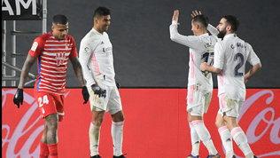Il Real piegail Granada con Casemiro e Benzema: Atletico agganciato