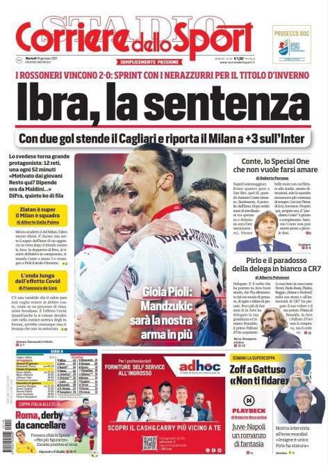 Lo sport sui quotidiani italiani ed esteri<br /><br />