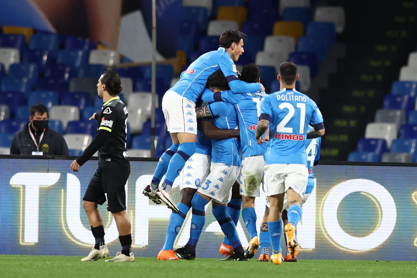 Napoli-Spezia 4-2, le migliori foto del match di Coppa Italia<br /><br />