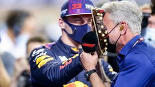 Verstappen, pole con torta in faccia a Coulthard