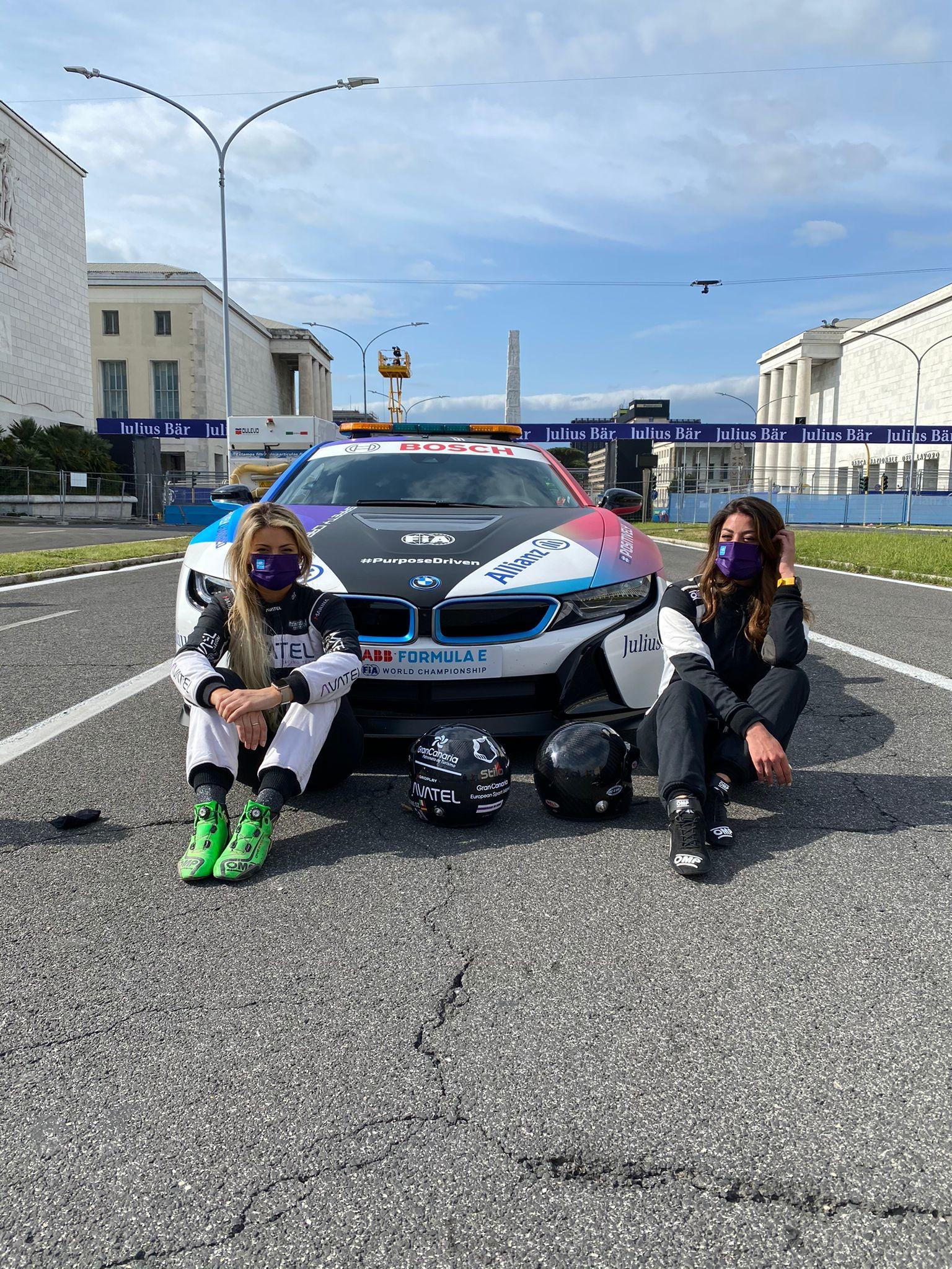 Vicky Piria e Christine Giampoli Zonca hanno provato il nuovo circuito dell&rsquo;E-Prix di Roma a bordo della safety car Bmw i8<br /><br />