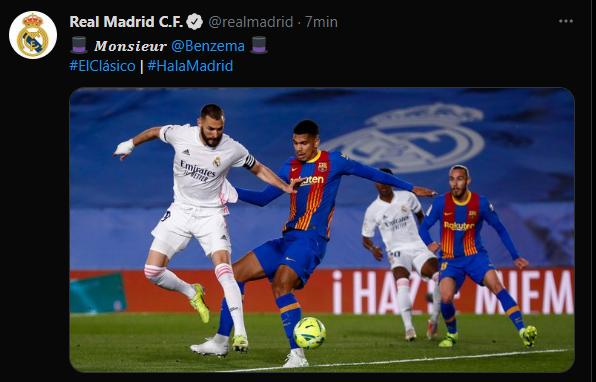 L'account Twitter del Real Madrid lo celebra così