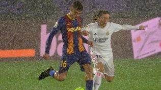 Real Madrid-Barcellona, bufera di pioggia su Valdebebas