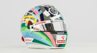 Il casco di Giovinazzi si colora per il GP di Imola
