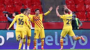 Doppio Messi, il Barça alza la Coppa del Re: poker all'Athletic Bilbao