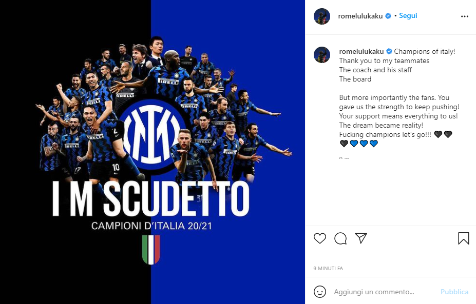 Al triplice fischio di Sassuolo-Atalanta esplode la festa dell&#39;Inter per la vittoria del 19&deg; scudetto della propria storia. Un titolo arrivato con i calciatori nel loro giorno libero e che hanno quindi affidato ai social la propria gioia. Per sapere come hanno reagito, guarda la gallery.<br /><br />