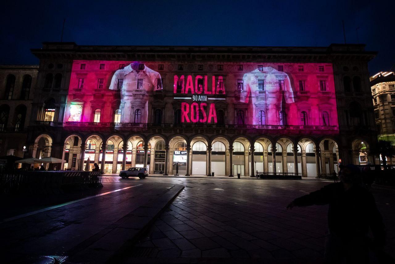 In occasione dell'arrivo del Giro d'Italia a Milano e per celebrare i 90 anni della maglia rosa, è stato realizzato un videomapping speciale dal 24 maggio al 2 giugno in Piazza Duomo.