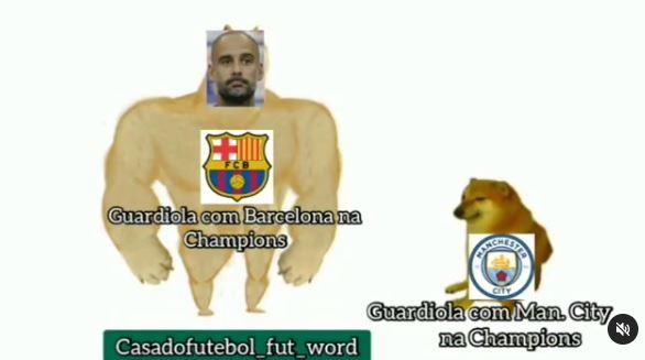 A sinistra Guardiola in Champions col Barcellona, a destra Guardiola in Champions col City