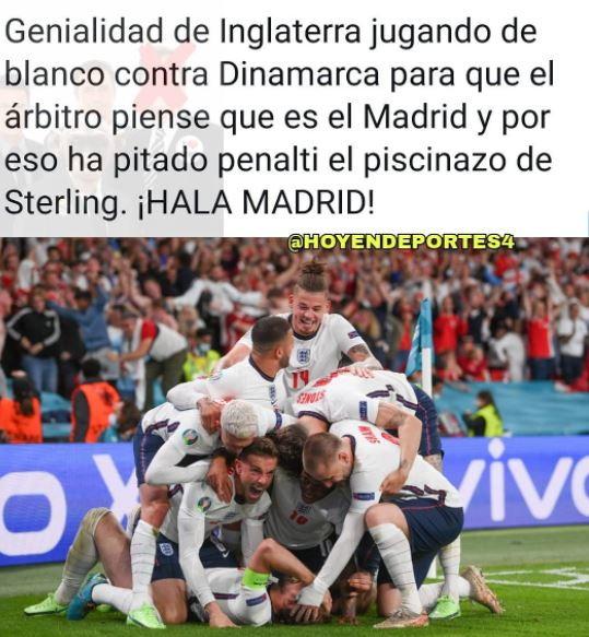 """""""Inghilterra geniale: ha giocato con la divisa bianca così l'arbitro ha pensato fosse il Real Madrid e gli hanno regalato il rigore per il tuffo di Sterling"""""""