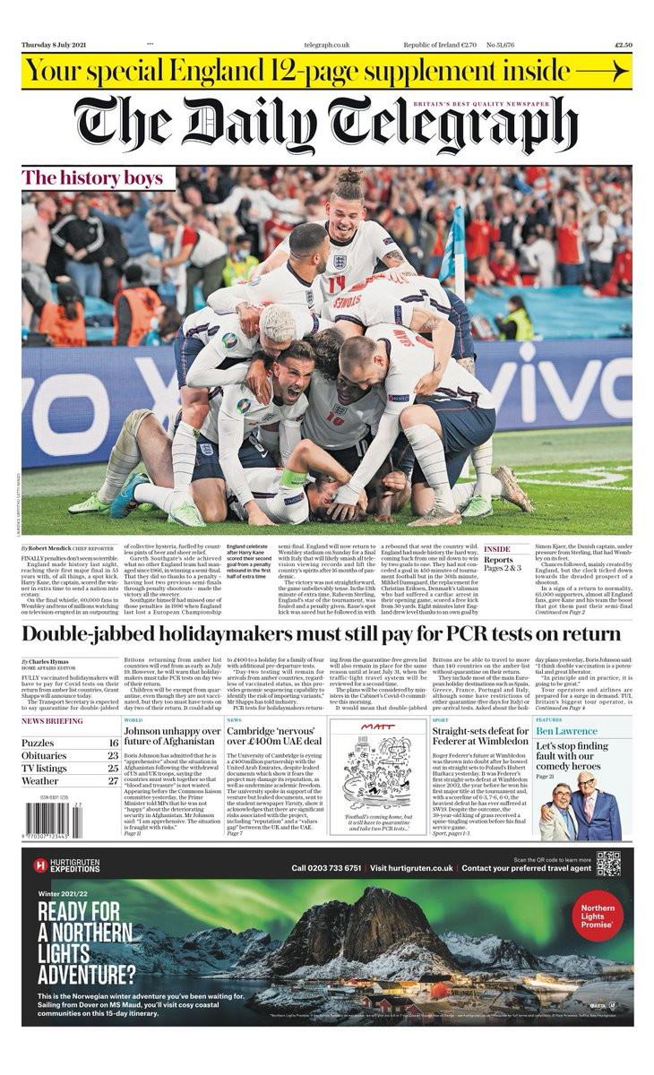 La vittoria sulla Danimarca che vale la finale di Euro 2020 &egrave; stata celebrata dalla stampa britannica come una liberazione, la fine di un&#39;attesa lunga oltre mezzo secolo. &Egrave; per questo che tra i titoli scelti dai quotidiani di Sua maest&agrave; si ripete l&#39;avverbio &quot;Finally&quot;, per indicare s&igrave; l&#39;epilogo - la finale, appunto - di questo Europeo, in programma domenica a Wembley contro gli Azzurri, ma anche - nella sua traduzione letteraria - &quot;finalmente&quot;, ovvero l&#39;interruzione di un sortilegio nefasto. Cos&igrave; il tabloid Daily Mirror, che ricorda nella sua pagina d&#39;apertura &quot;i 55 anni di dolore&quot; trascorsi dall&#39;unico trionfo internazionale dei Tre Leoni, la conquista della Coppa del Mondo nel 1966. &quot;Finally&quot;, &egrave; anche l&#39;apertura a tutta pagina del Mirror, gi&agrave; proiettato all&#39;ultimo atto del torneo continentale: &quot;Harry e i suoi eroi battono i danesi..per eguagliare gli immortali dell&#39;Inghilterra del 1966&quot;. Al triplice fischio finale Wembley si &egrave; trasformata in una bolgia di entusiasmo contagioso, e allora il tabloid Sun, pubblicando un&#39;immagine dei festeggiamenti, titola: &quot;Probabilmente la migliore sensazione al mondo&quot;. &quot;Kane you believe it!&quot;, ovvero &quot;Potete crederci!&quot;, &egrave; il gioco di parole, con protagonista Harry Kane, scelto come titolo dal Daily Mail, che accompagna la foto del capitano dell&#39;Inghilterra, con una sintesi emotiva della seconda semifinale europea: &quot;Una notte di alto dramma, i Tre Leoni tengono in bilico milioni di inglesi..poi il capitano Harry ci proietta nella storica finale di Wembley&quot;. Una vittoria dal sapore di sollievo e redenzione, secondo il Daily Express, cos&igrave; come per il free press Metro (&quot;Finally There&quot;), con sottotitolo: &quot;I Tre Leoni confezione un finale epico contro l&#39;Italia domenica&quot;. Una sfida, quella contro gli Azzurri, che segn