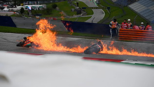 Paura per Savadori-Pedrosa, moto in fiamme