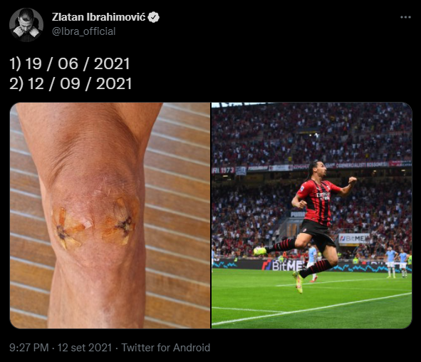 Il post di Ibra su Twitter dopo la partita