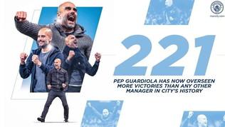 Guardiola, che record: è il tecnico con più vittorie nella storia del City