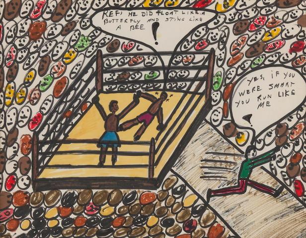 E&#39; stata venduta all&#39;asta a New York per una cifra pari a 819.273 euro, di molto superiore rispetto alla stima iniziale, la collezione di disegni e schizzi realizzati dalla leggenda del pugilato Muhammad Ali. La boxe, ma anche i diritti civili, la pace nel mondo e l&#39;umanitarismo sono i soggetti che stavano pi&ugrave;&nbsp;a cuore ad Ali. Il pezzo con il maggior valore &egrave; stato un disegno a pennarello del 1978 intitolato &#39;Sting Like A Bee&#39; (&#39;Pungi come un&#39;ape&#39;, dalla celebre frase di Ali &#39;Float like a butterfly sting like a bee&#39;), venduto per&nbsp;per 366.585 euro (foto Bonhams).<br /><br />